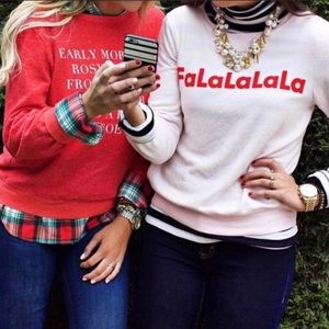 Wildfox Falalala Pink Pullover Sweater M